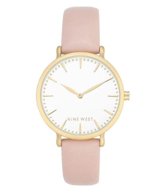 Nine West | Women's Light Pink Faux Leather Strap Watch 42mm | Lyst