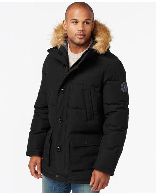 Tommy Hilfiger | Black Hooded Snorkel Coat for Men | Lyst