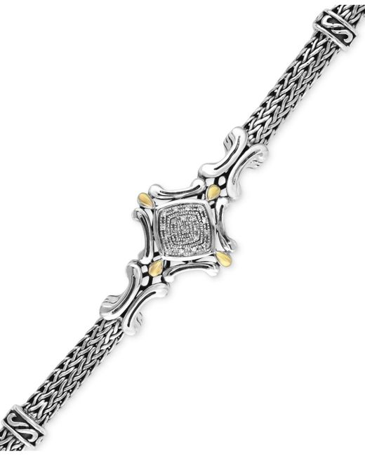 Effy Collection | Metallic Diamond Accent Curve Detail Bracelet In Sterling Silver And 18k Gold | Lyst