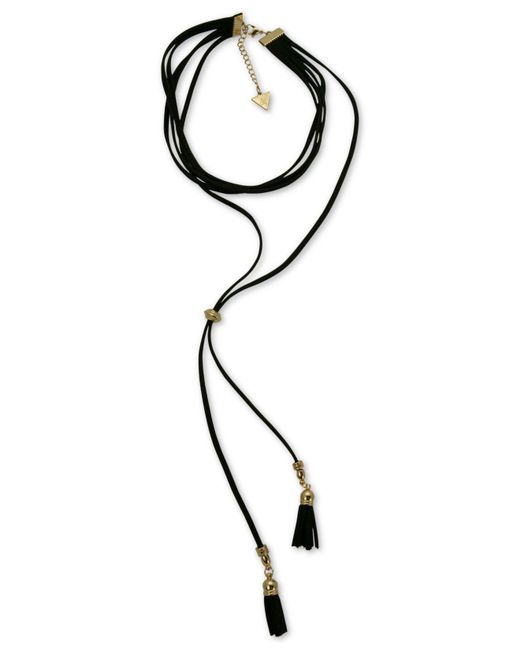 Guess - Black Gold-tone Jet Imitation Suede Tassel Choker Necklace - Lyst