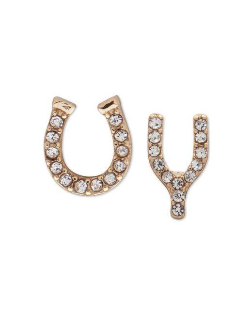 Lonna & Lilly - Metallic Gold-tone Pavé Luck Mismatch Stud Earrings - Lyst