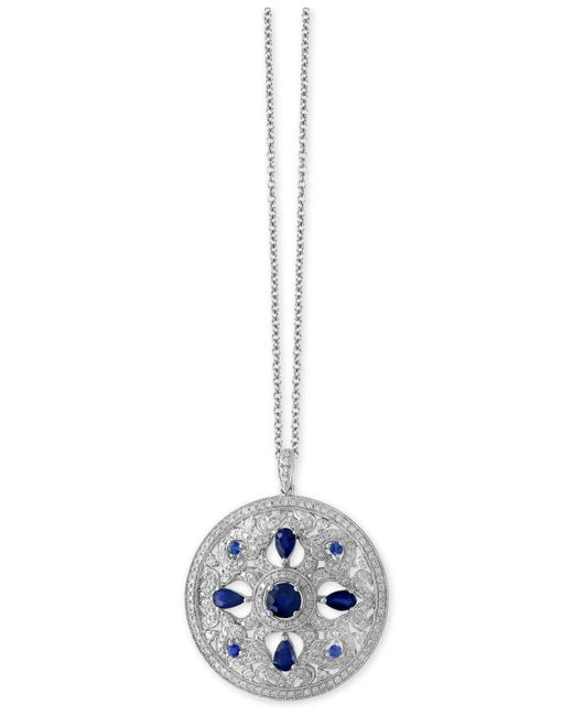 Effy Collection - Metallic Sapphire (1-3/4 Ct. T.w.) And Diamond (9/10 Ct. T.w.) Pendant Necklace In 14k White Gold - Lyst