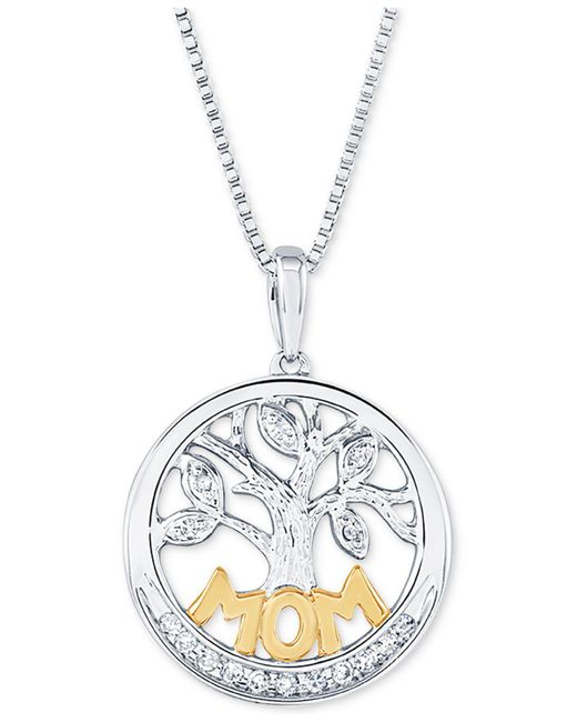 """Macy's - Metallic Diamond Family Tree Mom 18"""" Pendant Necklace (1/10 Ct. T.w.) In Sterling Silver And 14k Gold - Lyst"""