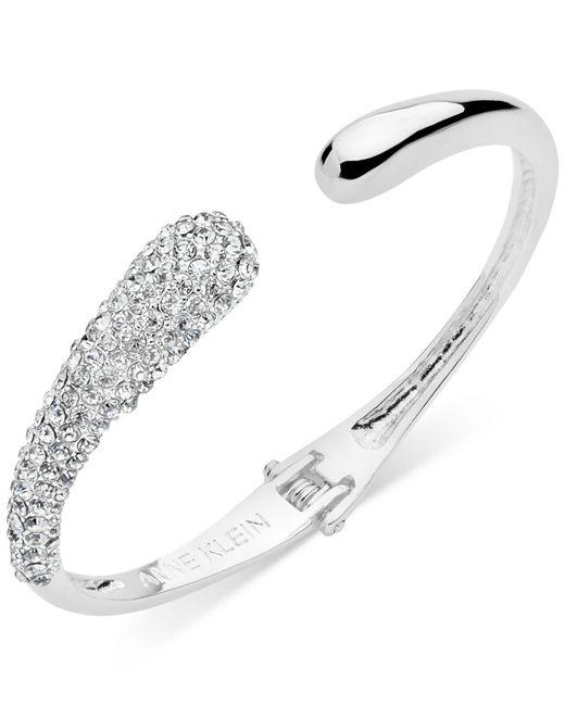 Anne Klein - Metallic Pavé Hinged Cuff Bracelet - Lyst