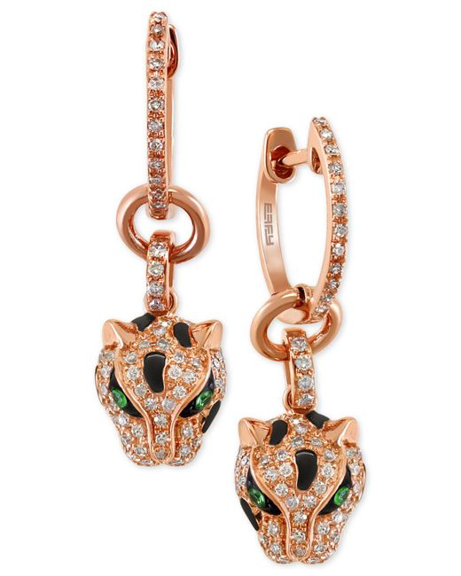 Effy Collection - Metallic Diamond (3/8 Ct. T.w.) And Tsavorite Accent Panther Drop Earrings In 14k Rose Gold - Lyst