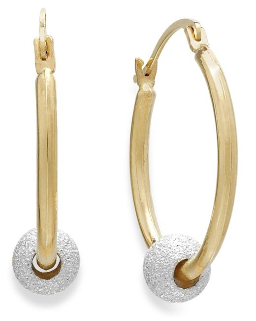 Macy's - Metallic Beaded Hoop Earrings In 10k Gold And Sterling Silver - Lyst