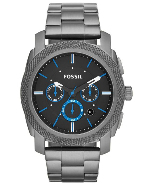 Fossil | Gray Men's Chronograph Machine Smoke-tone Stainless Steel Bracelet Watch 45mm Fs4931 for Men | Lyst
