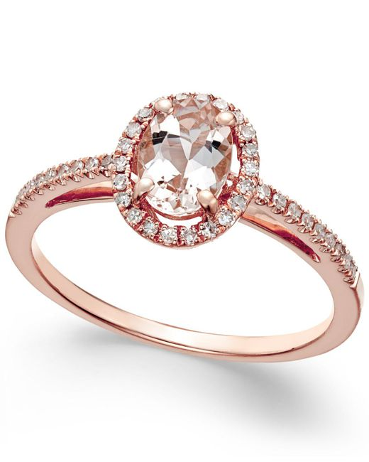 Macy's | Pink Morganite (5/8 Ct. T.w.) And Diamond (1/6 Ct. T.w.) Ring In 14k Rose Gold | Lyst