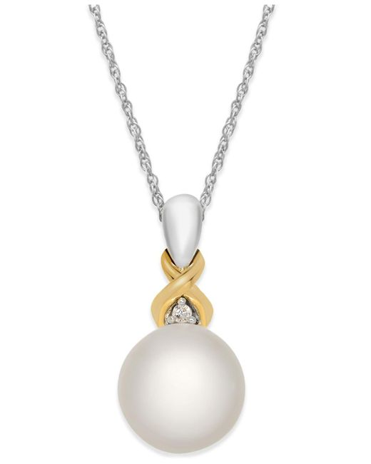 Macy's - Metallic Cultured Freshwater Pearl (8mm) And Diamond Accent Pendant Necklace In Sterling Silver And 14k Gold - Lyst