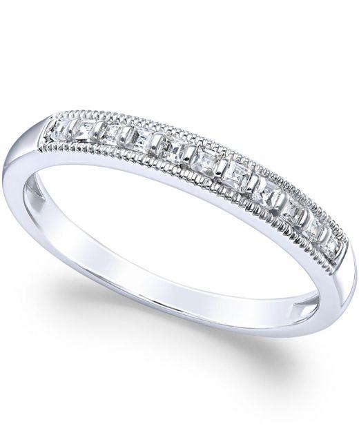 Macy's - Diamond Milgrain Ring In 14k White Gold (1/4 Ct. T.w.) - Lyst