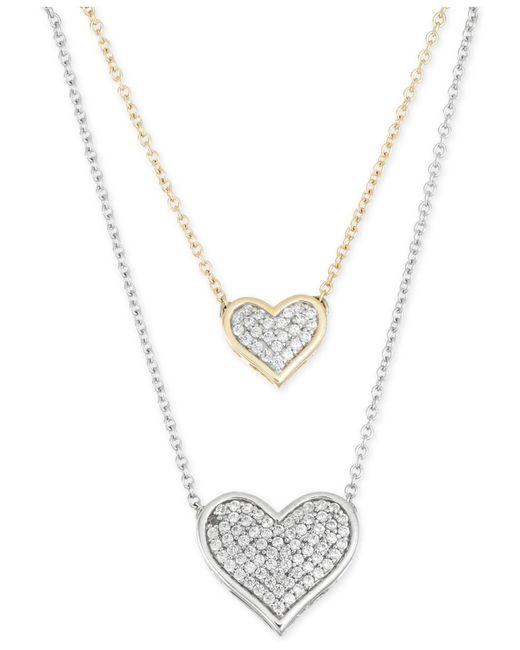 Macy's - Metallic Diamond Double Heart Pendant Necklace (1/4 Ct. T.w.) In 10k Gold And White Gold - Lyst
