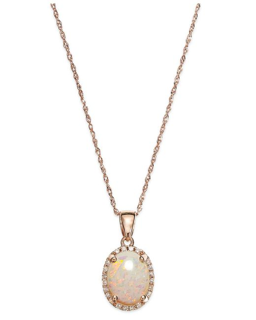Macy's - Metallic Opal (9/10 Ct. T.w.) And Diamond Accent Oval Pendant Necklace In 14k Rose Gold - Lyst