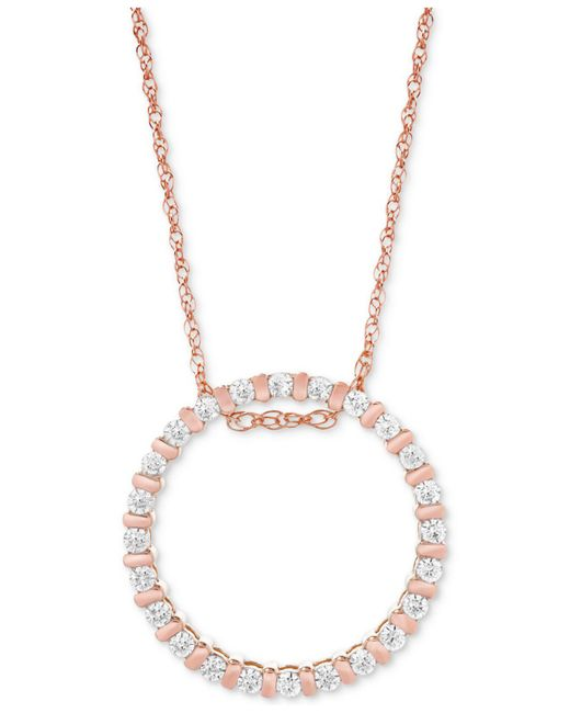Macy's - Metallic Diamond Circle Pendant Necklace (1/4 Ct. T.w.) In 14k Rose Gold - Lyst