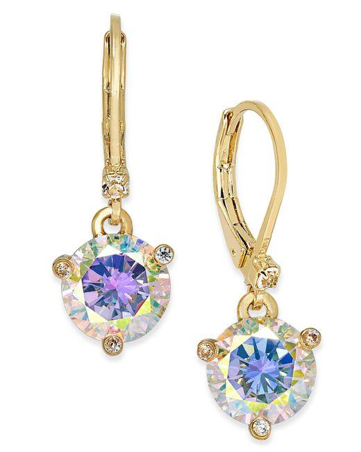 Kate Spade - Metallic Gold-tone Blue Crystal Drop Earrings - Lyst
