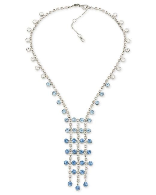 Carolee | Metallic Silver-tone Blue & Clear Crystal Lariat Necklace | Lyst