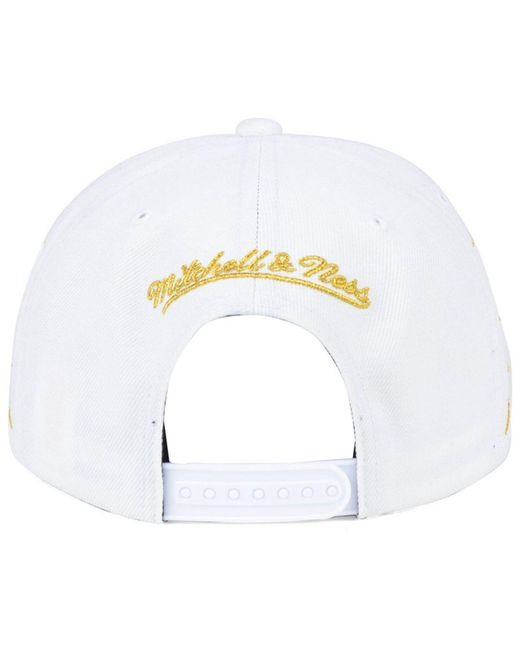 huge selection of 21be5 c171e ... free shipping mitchell ness metallic oklahoma city thunder gold  diamonds snapback cap for men lyst ad0da