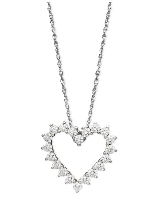 Arabella - 14k White Gold Necklace, Swarovski Zirconia Heart Pendant (1 Ct. T.w.) - Lyst