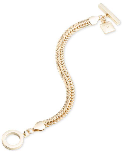 Anne Klein - Metallic Gold-tone Flat Chain Toggle Bracelet - Lyst