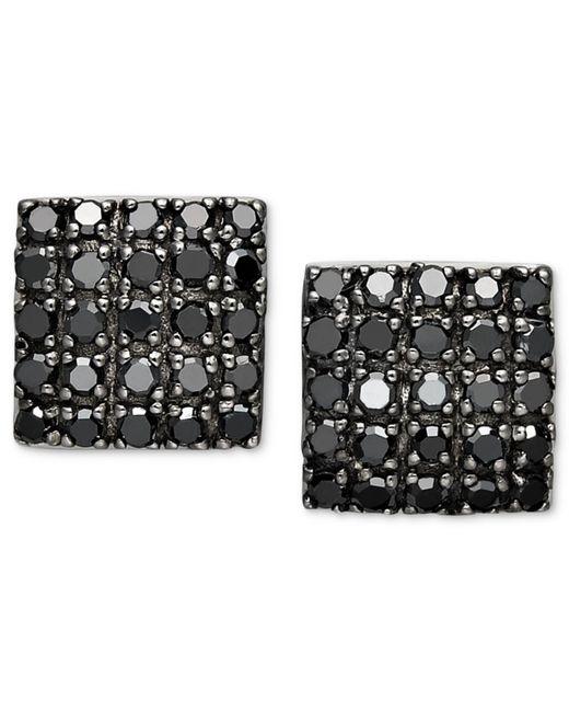 Macy's - Metallic Black Diamond Square Cluster Stud Earrings In Sterling Silver (1/2 Ct. T.w.) - Lyst