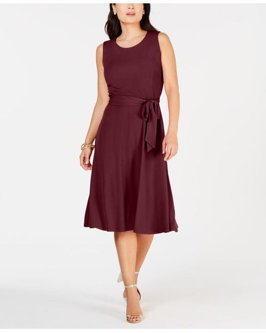 Charter Club Red Tie-waist Midi Dress, Created For Macy's