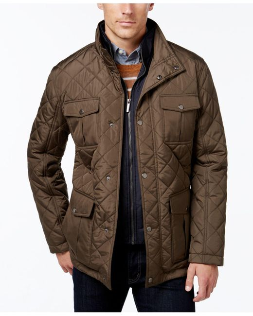 London Fog | Green Men's Quilted Jacket With Zip Inset for Men | Lyst