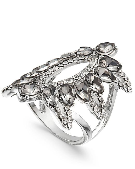 INC International Concepts - Metallic Silver-tone Pavé & Black Stone Ring, Created For Macy's - Lyst
