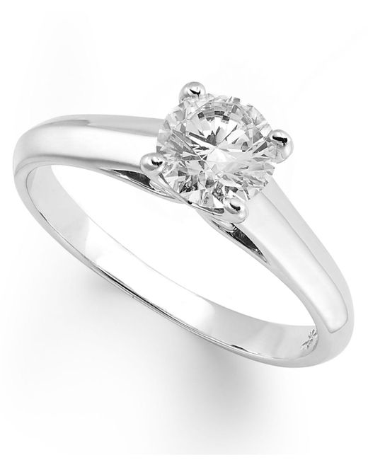 X3 | Metallic Certified Diamond Solitaire Ring In 18k White Gold (1/2 Ct. T.w.) | Lyst
