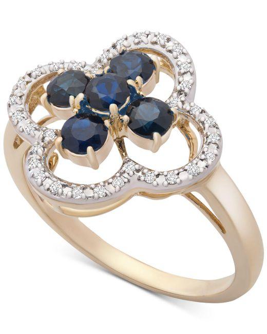 57d1a3e03 Macy's Sapphire (3/4 Ct. T.w.) & Diamond (1/10 Ct. T.w.) Statement ...