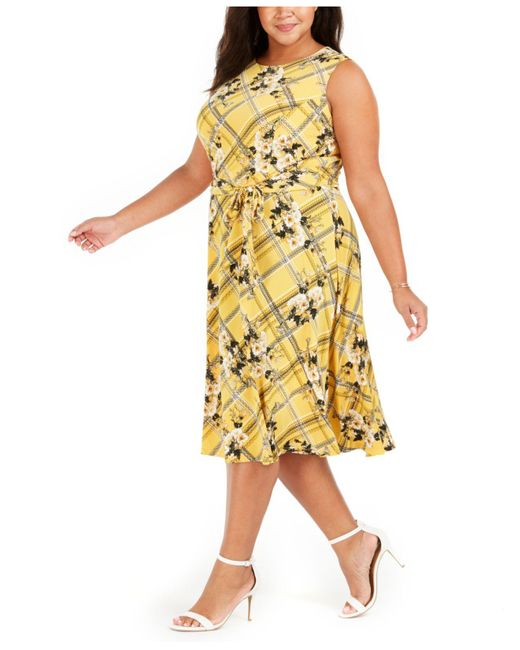 Charter Club Yellow Plus Size Printed Sleeveless Dress, Created For Macy's