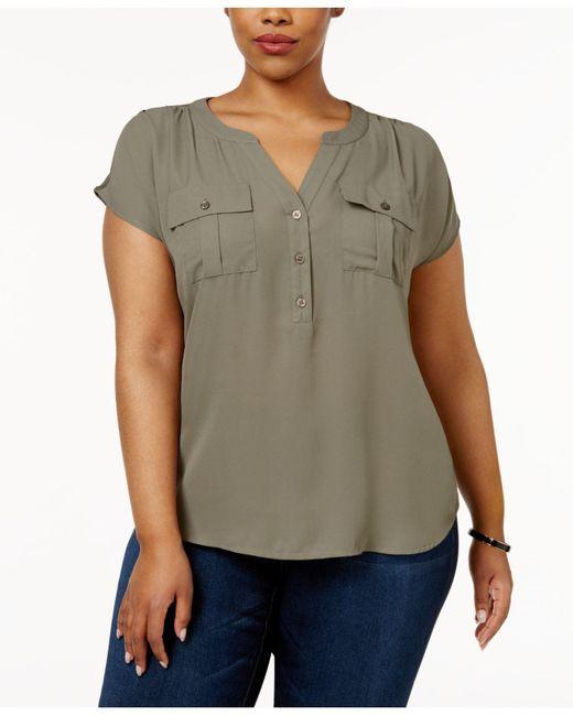 INC International Concepts - Green Plus Size Short-sleeve Blouse - Lyst