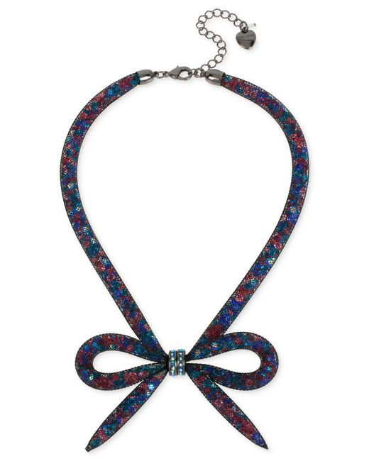 Betsey Johnson - Multicolor Hematite-tone Mesh Bow Collar Necklace - Lyst