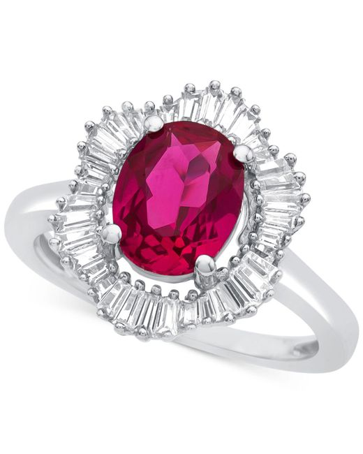 Macy's - Red Lab-created Ruby (1-7/8 Ct. T.w.) And White Sapphire (3/4 Ct. T.w.) Ring In Sterling Silver - Lyst