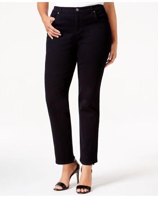 Style & Co. - Black Plus Size Tummy-control Straight Leg Jeans, Aged Indigo Wash - Lyst