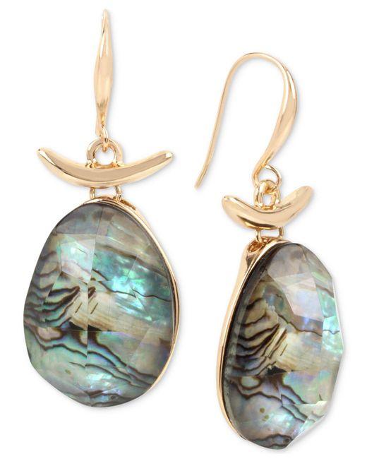 Robert Lee Morris | Metallic Gold-tone Abalone Stone Drop Earrings | Lyst