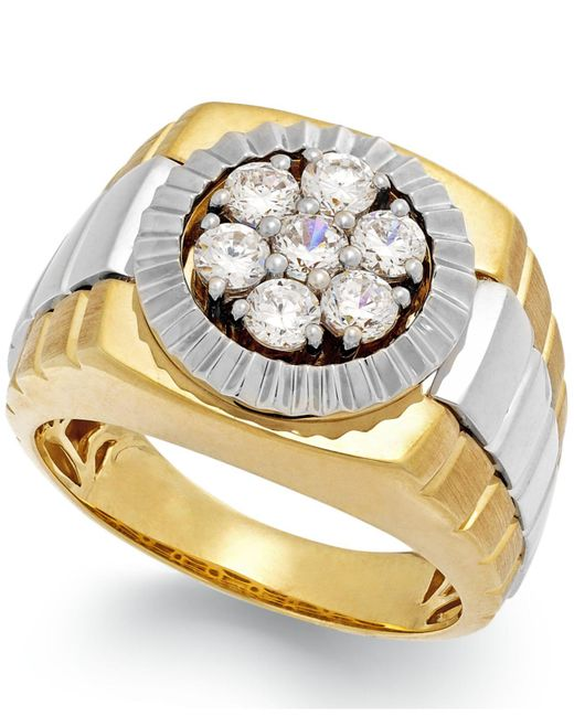 Macy's - Metallic Men's Diamond Two-tone Ring In 10k Gold (1 Ct. T.w.) for Men - Lyst