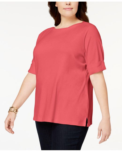 Karen Scott - Pink Plus Size Cotton Cuffed-sleeve Top, Created For Macy's - Lyst