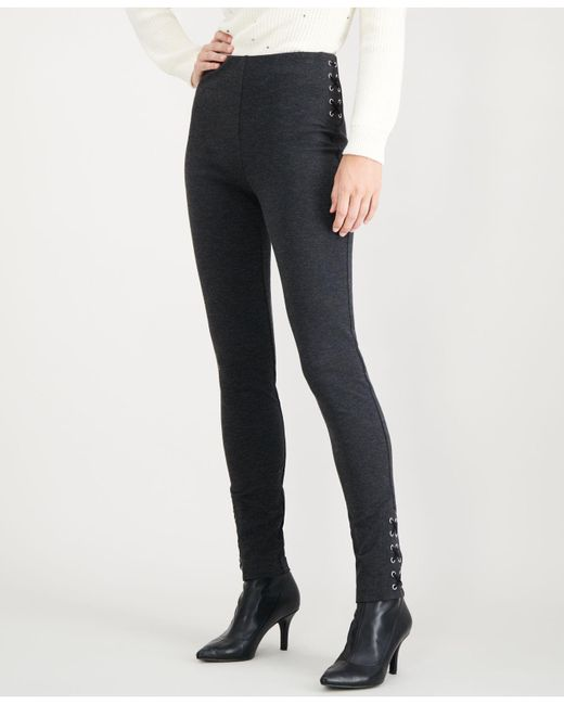 INC International Concepts - Gray I.n.c. Skinny Lace-up Ponté-knit Pants, Created For Macy's - Lyst