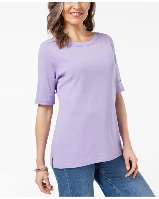 Karen Scott - Purple Cuffed Boat-neck Top, Created For Macy's - Lyst