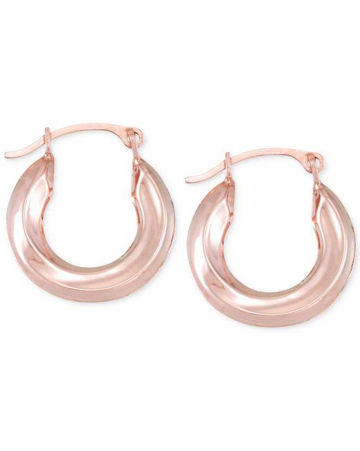 Macy's | Metallic Small Polished Tube Hoop Earrings In 10k Gold | Lyst