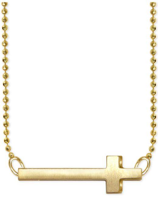 Alex Woo | Metallic Side Cross Pendant Necklace In 14k Gold | Lyst