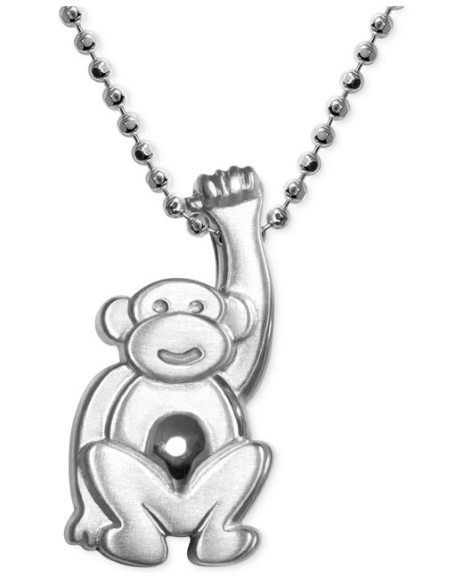 Alex Woo | Metallic Little Monkey Zodiac Pendant Necklace In Sterling Silver | Lyst