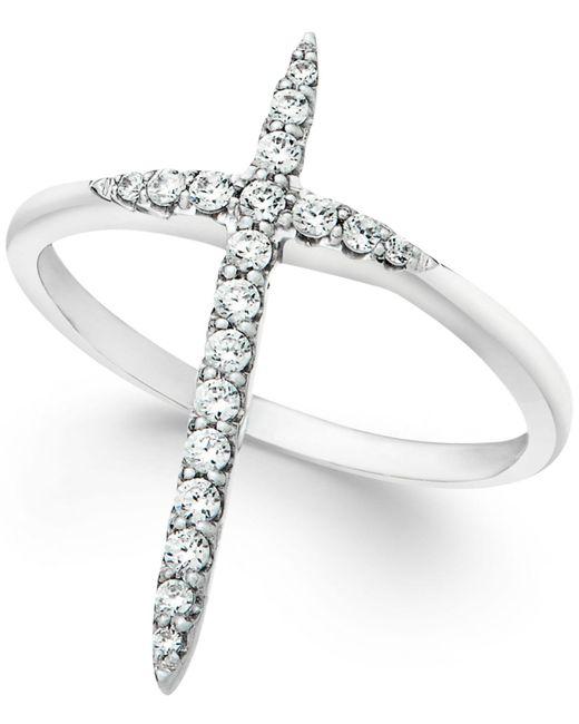 Macy's | Metallic Diamond Extended Cross Ring In 10k White Gold (1/4 Ct. T.w) | Lyst