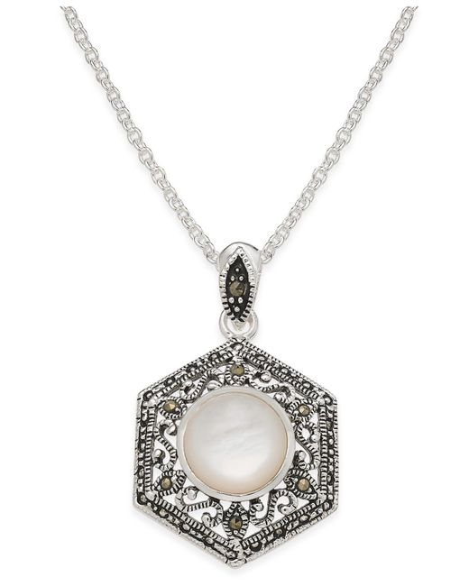Macy's - Metallic Mother-of-pearl And Marcasite Filigree Pendant Necklace In Silver-plate - Lyst