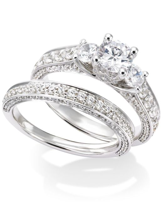 Macy's - Certified Diamond Three-stone Bridal Set In 14k White Gold (2-1/2 Ct. T.w.) - Lyst