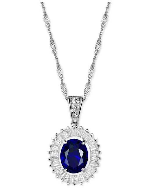 """Macy's - Metallic Cubic Zirconia And Simulated Stone 18"""" Pendant Necklace In Sterling Silver - Lyst"""