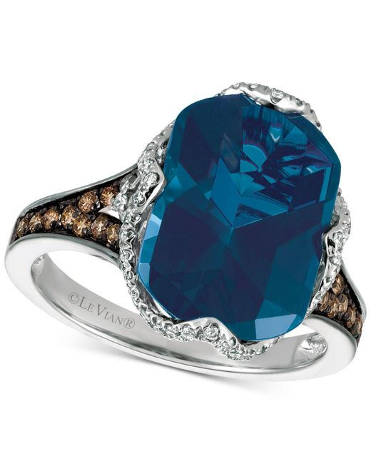 Le Vian - Blue Topaz (6-9/10 Ct. T.w.) And Diamond (3/8 Ct. T.w.) Ring In 14k White Gold - Lyst