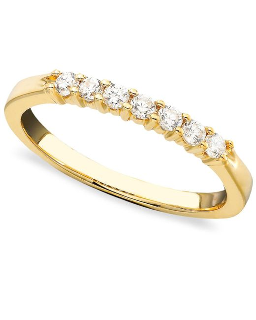 Macy's | Metallic Seven Diamond Band Ring In 14k Gold (1/4 Ct. T.w.) | Lyst