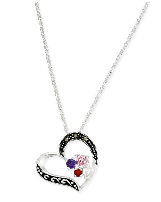 Macy's - Metallic Marcasite & Cubic Zirconia Heart Pendant Necklace In Fine Silver-plate - Lyst