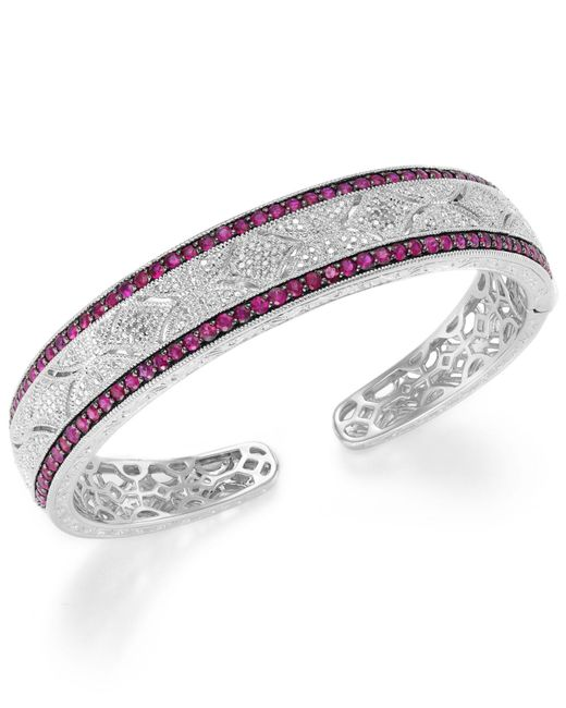 Macy's | Multicolor Ruby (1-3/4 Ct. T.w.) And Diamond Accent Cuff Bracelet In Sterling Silver | Lyst