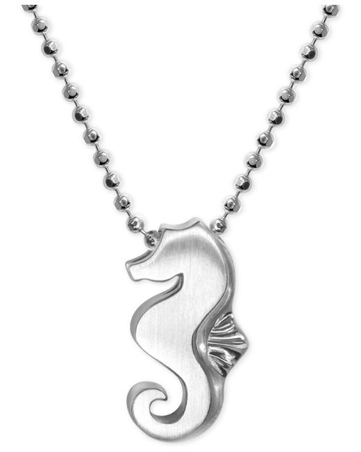 Alex Woo - Metallic Seahorse Pendant Necklace In Sterling Silver - Lyst